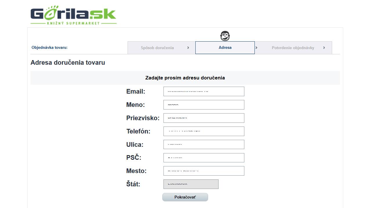 Nečitateľný text počas nákupu v inputoch na Gorila.sk