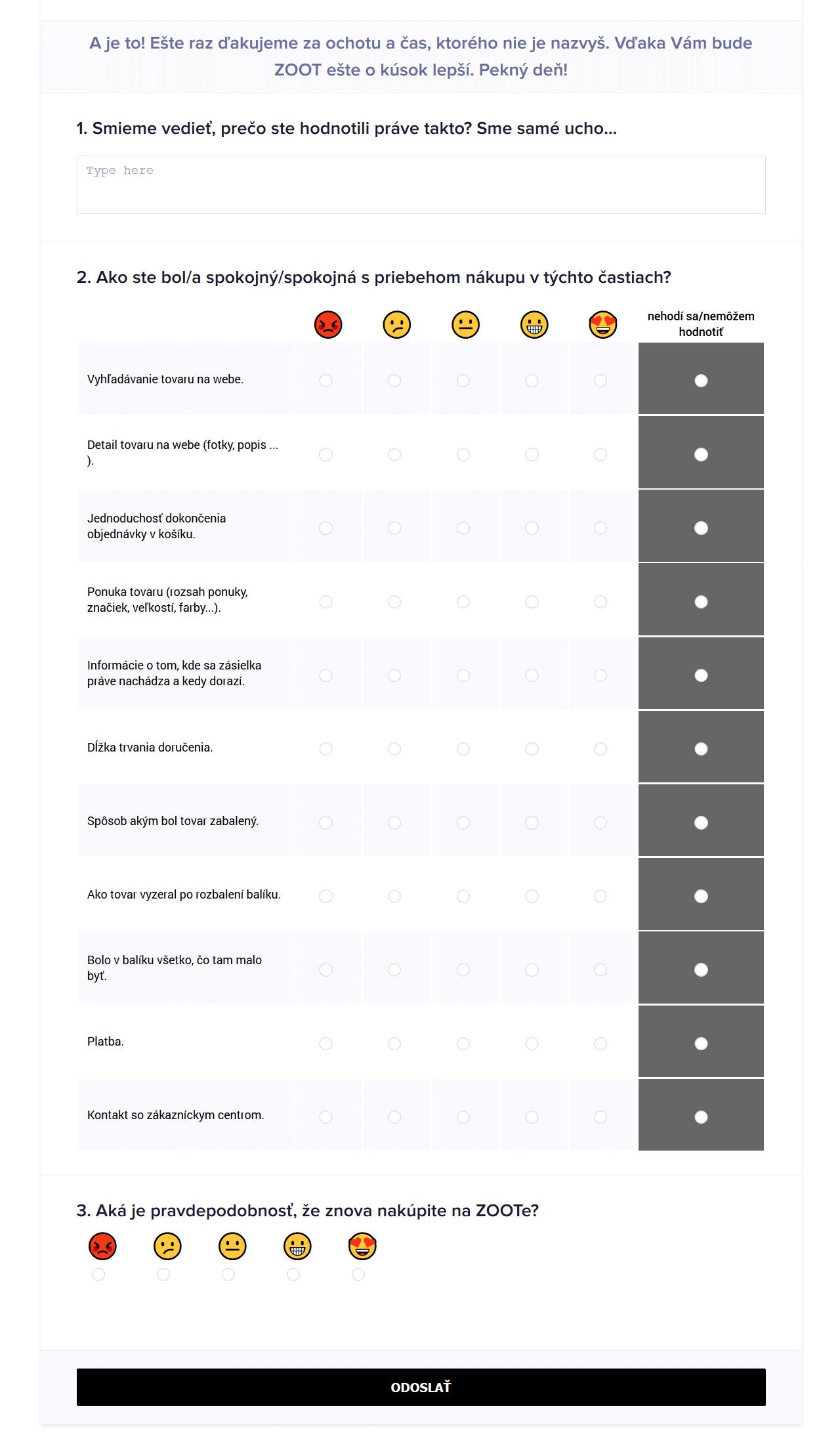 Dotazník spokojnosti s objednávkou od ZOOT