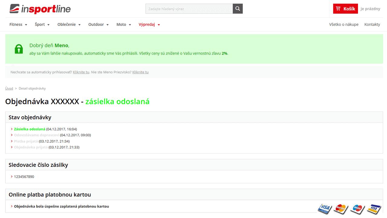 Detaily objednávky po automatickom prihlásení v inSPORTline